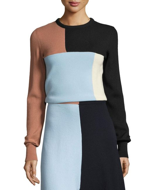 Cedric Charlier | Multicolor Colorblock Knit Crewneck Sweater | Lyst