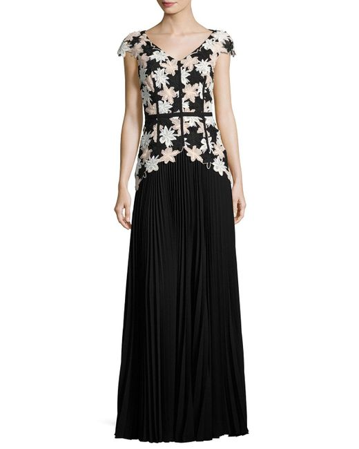 Talbot Runhof | Black Nonee Cap-sleeve Lace Combo Gown | Lyst