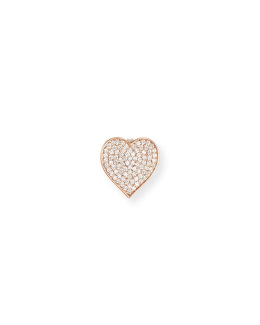 Sydney Evan | Metallic Oversized Heart Stud Earring With Diamonds In 14k Rose Gold | Lyst