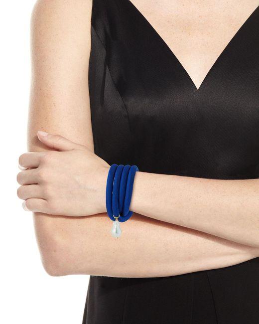 Grazia And Marica Vozza | Black Silk Wrap Bracelet With Baroque Pearl | Lyst