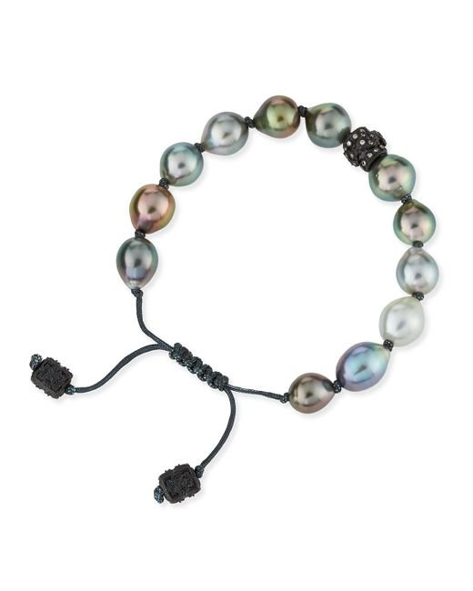 Armenta | Black Old World Tahitian Pearl Pull-cord Bracelet With Champagne Diamonds | Lyst