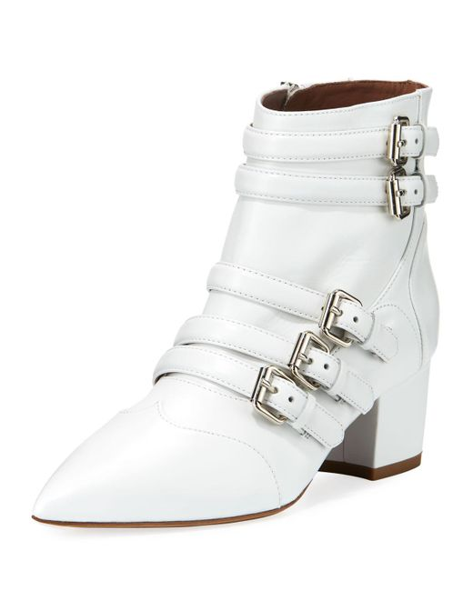 Tabitha Simmons | White Christy Leather Buckle 50mm Bootie | Lyst