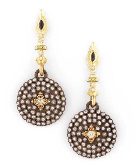 Armenta   Metallic Small Pave Diamond Shield Drop Earrings   Lyst