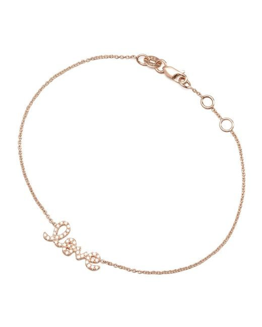 Sydney Evan | Metallic Rose Gold Diamond Love Bracelet | Lyst