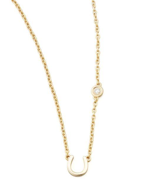Shy By Sydney Evan   Metallic Horseshoe & Single-diamond Necklace   Lyst