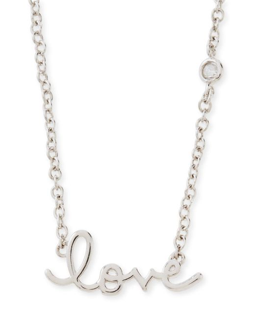Shy By Sydney Evan | Metallic Rhodium Love Pendant Bezel Diamond Necklace | Lyst
