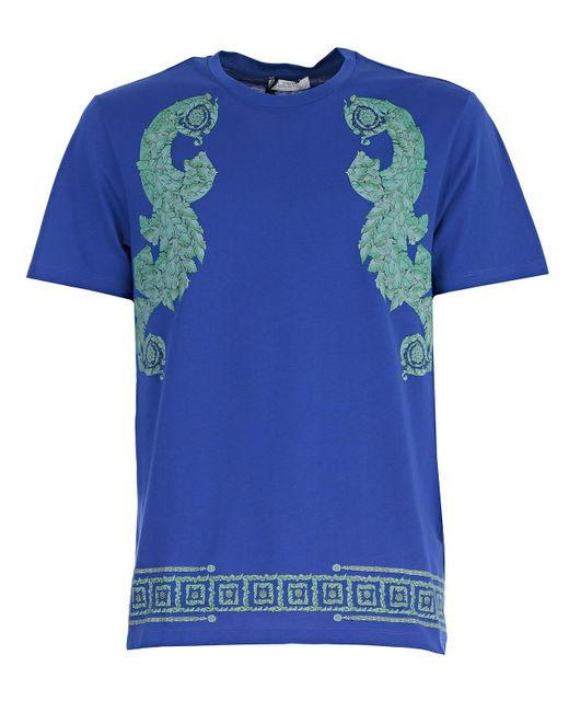 Lyst versace t shirt stampa barocca frame in blue for men for Tampa t shirt printing