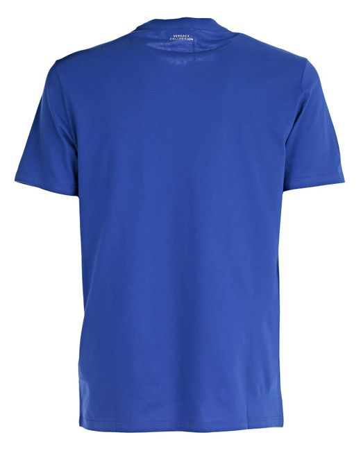 Lyst versace t shirt stampa barocca girocollo in blue for Tampa t shirt printing