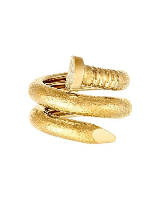 """David Webb - Hammered 18k Yellow Gold """"nail"""" Ring - Lyst"""