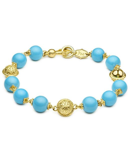 Paul Morelli - Blue Turquoise & 18k Yellow Gold Prayer Bead Bracelet - Lyst