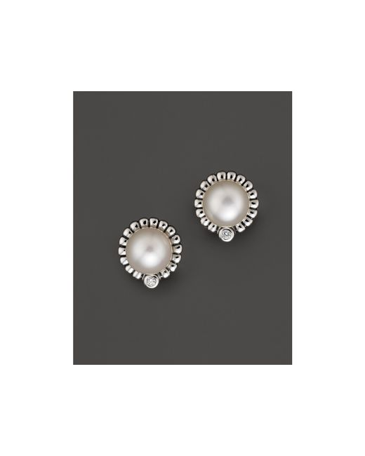 Lagos | Metallic Luna Sterling Silver Diamond And Cultured Freshwater Pearl Stud Earrings | Lyst