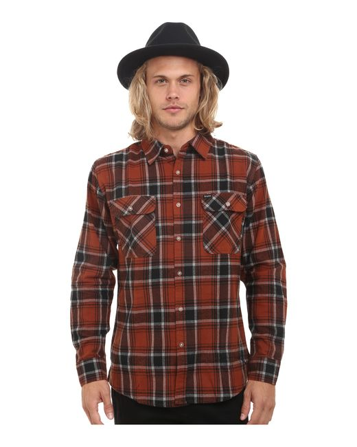 Brixton   Brown Bowery Long Sleeve Flannel for Men   Lyst