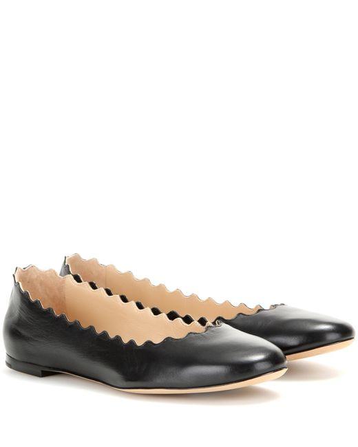 Chloé | Lauren Scalloped Patent Ballerina Flat Black | Lyst