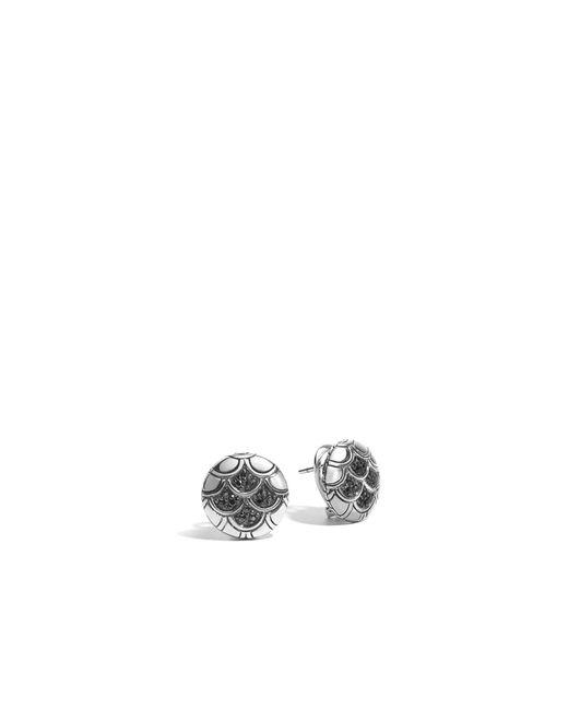 John Hardy | Metallic Naga Button Earring With Black Sapphire | Lyst