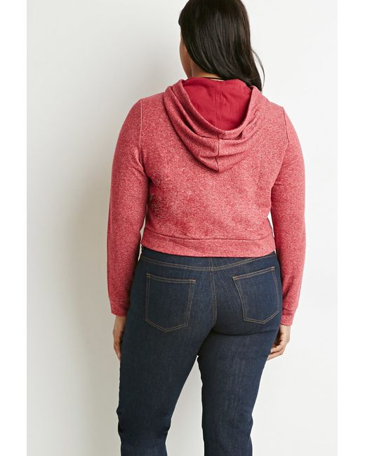 Forever 21 | Red Plus Size Contrast-lined Drawstring Hoodie | Lyst