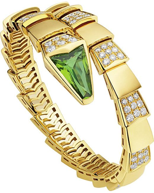 BVLGARI | Metallic Serpenti 18kt Yellow-gold And Diamond Bracelet | Lyst