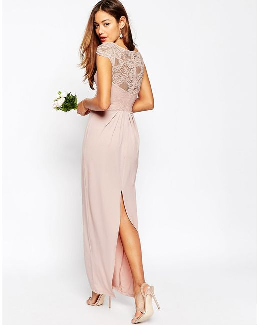 Asos Wedding Lace Top Pleated Maxi Dress In Pink (Blush