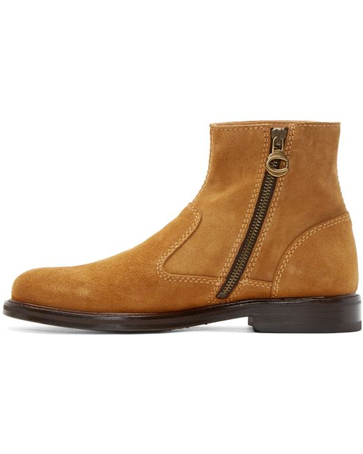 Carven Cognac Suede Boots In Brown For Men Cognac Lyst