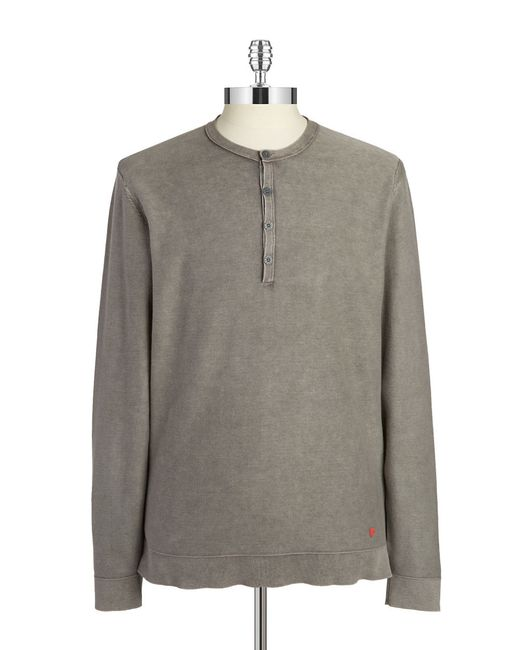 Strellson | Gray Cotton Henley Tee for Men | Lyst
