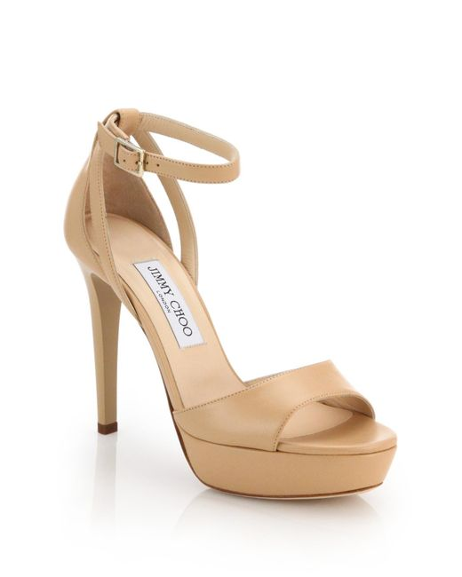 Jimmy Choo | Natural Kayden Leather Sandals | Lyst