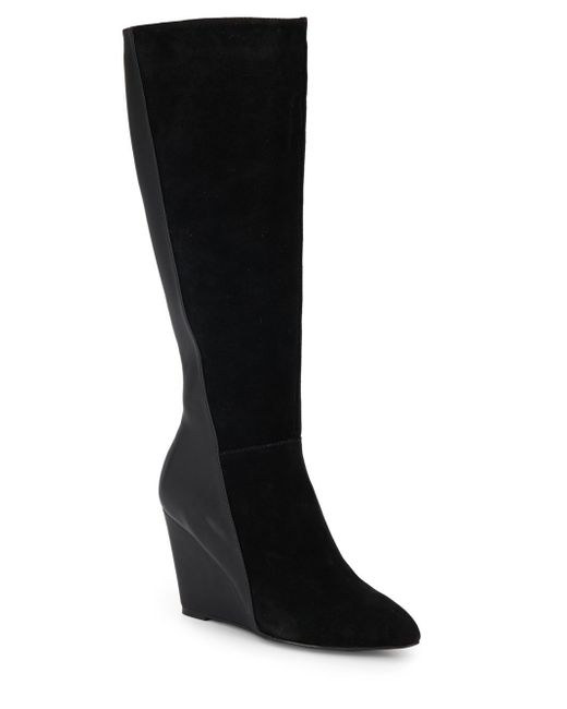 Charles by Charles David | Black Easton Suede-paneled Wedge Boots | Lyst