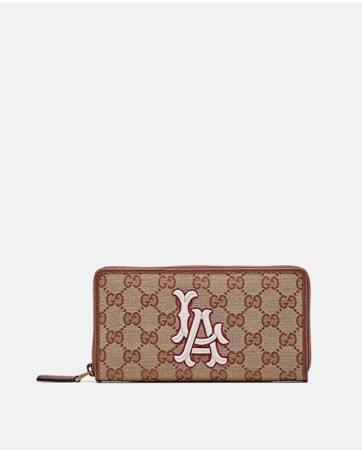 59a5701a0258d Gucci - Brown Original Gg Zip Around Wallet With La Angels Patch for Men -  Lyst ...