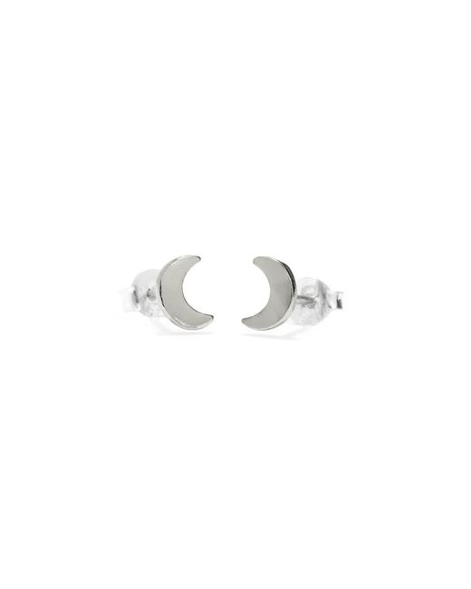 Bing Bang - Metallic Little Moon Studs - Lyst