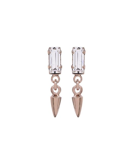 Bing Bang | Pink Baguette Bullet Drop Earrings | Lyst
