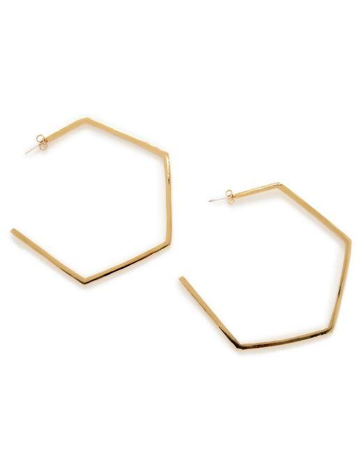 Bing Bang - Yellow Large Hexagon Hoops - Lyst