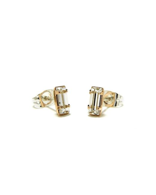 Bing Bang - Yellow Tiny Baguette Studs - Lyst