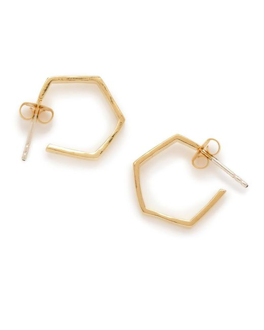 Bing Bang - Metallic Little Hexagon Hoops - Lyst