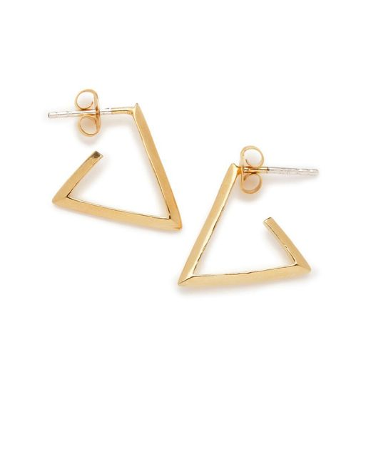 Bing Bang - Yellow Little Triangle Hoops - Lyst