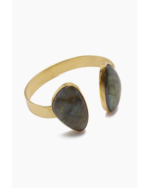 Lena Bernard - Metallic Naenia Labradorite Gold Cuff Bracelet - Lyst