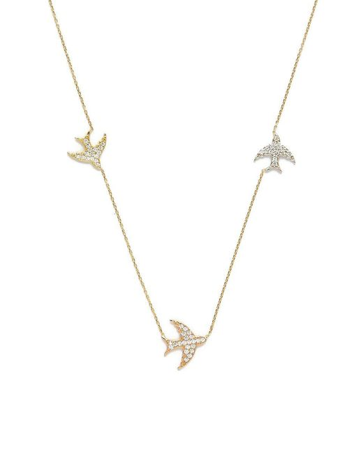 Talia Naomi - Metallic Pave Fly Me To The Moon Necklace - Lyst