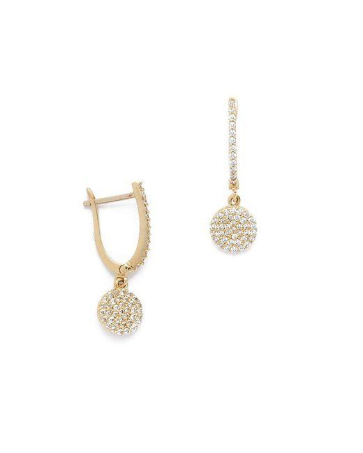 Talia Naomi   Metallic Golden Eclipse Pave Earrings   Lyst