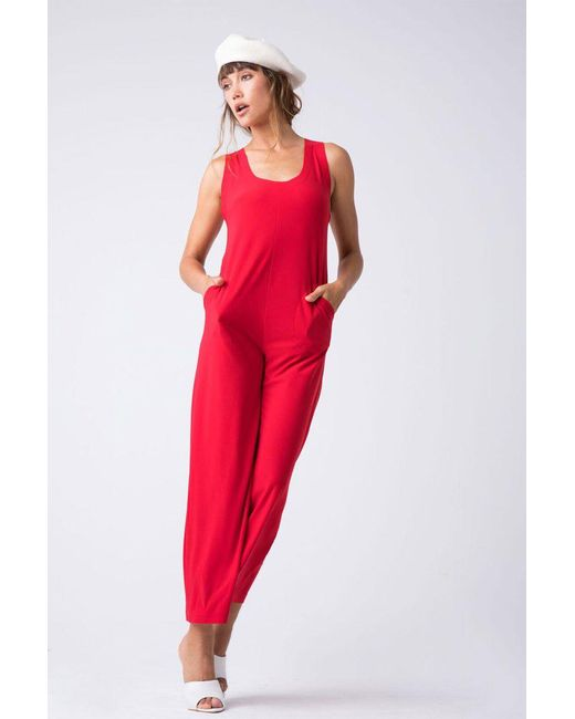 Norma Kamali - Red Cross Back Cropped Jumpsuit - Tango - Lyst