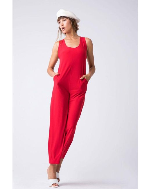 Norma Kamali - Cross Back Cropped Jumpsuit - Tango Red - Lyst