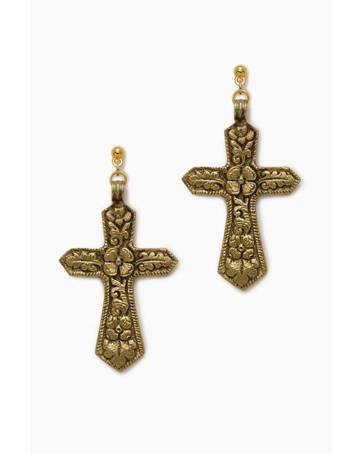 Vanessa Mooney - Metallic The Saint Angelo Cross Earrings - Gold - Lyst