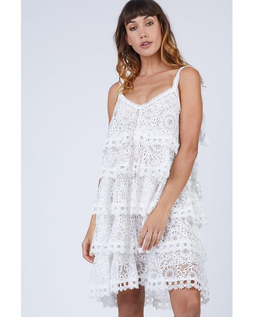 Lyst Waimari Audrey Tiered Lace Sundress Ivory In White