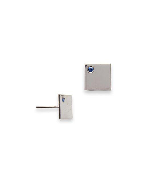 MIRA | Metallic Sapphire Studded Square Earrings | Lyst