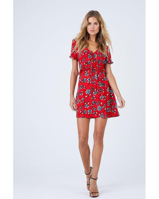 99318d565dcf MINKPINK Terrace Short Sleeve Dress - Red Floral in Red - Save 17 ...