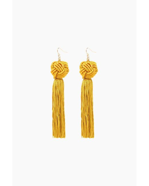 Vanessa Mooney - Metallic Gold Astrid Knotted Tassel Earrings - Lyst