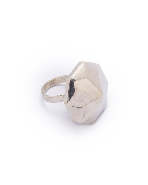 Lena Bernard - Metallic Danika Pyramid Statement Silver Ring - Lyst