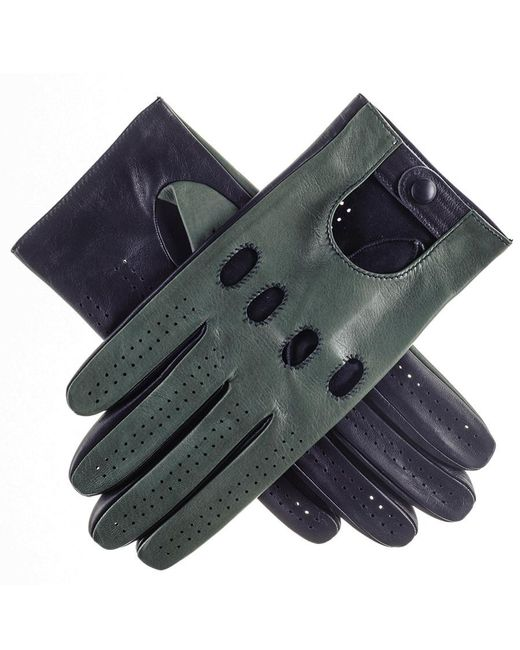 Black.co.uk | Blue Racing Green And Navy Italian Leather Driving Gloves | Lyst