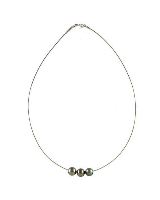 Black.co.uk | Metallic Perdita Triple Tahitian Black Pearl Necklace | Lyst
