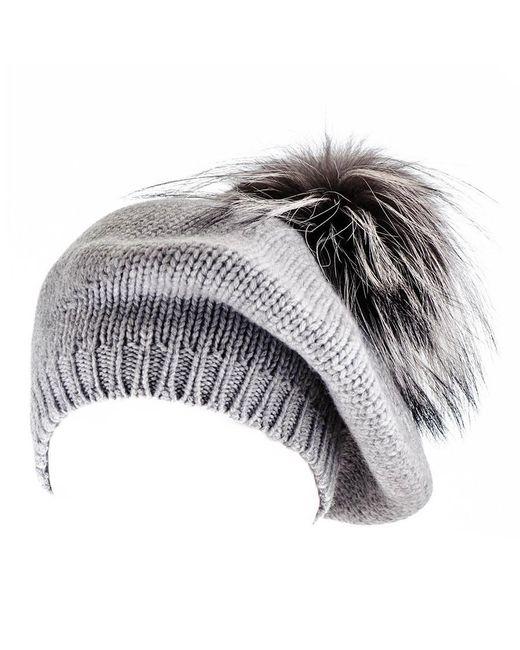 ... Black.co.uk - Multicolor Silver Grey Cashmere And Fur Pom Pom Beret ... 4a1311548c0f