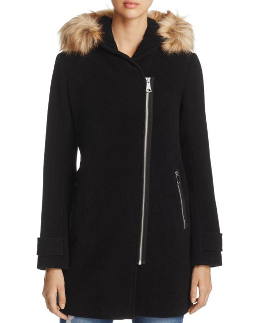 Marc New York - Black Paloma Faux Fur Trim Coat - Lyst