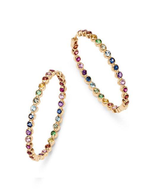 Shebee - Metallic 14k Yellow Gold Multicolor Sapphire Inside-out Oval Hoop Earrings - Lyst