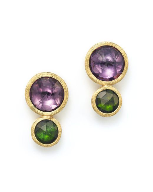 Marco Bicego - Metallic 18k Yellow Gold Jaipur Two Stone Earrings With Amethyst And Green Tourmaline - Lyst