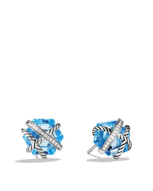 David Yurman   Cable Wrap Earrings With Blue Topaz And Diamonds   Lyst